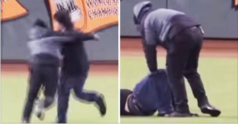 Security Guard Snaps Leg Tackling Fan On The Field