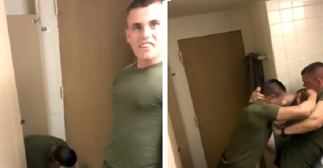 BULLY MARINE GETS HIS ASS KICKED AFTER PICKING FIGHT WITH SMALLER SQUAD MEMBER