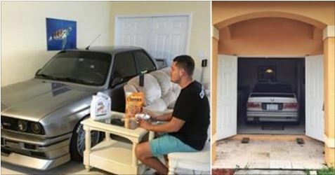Car Enthusiast Parks His Beloved BMW in His Living Room During Hurricane Matthew
