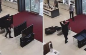 Clumsy Customer Knocks Over 4 TV
