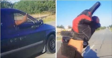 Biker Gets Revenge On Road Rager After Hitting Him With Water Bottle