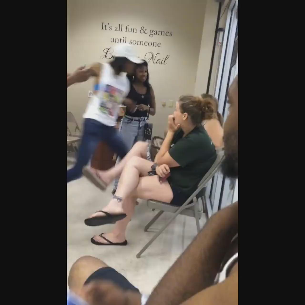 Female Brawl Pops off inside a Nail Shop in Flint