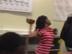 GIRL SMACKS A GUY WITH A BRICK IN THE MIDDLE OF CLASS