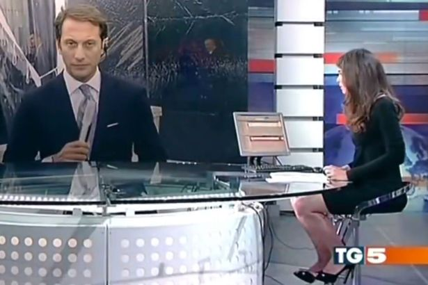 News presenter forgets she's sitting at a glass desk and gives viewers an eyeful on live TV