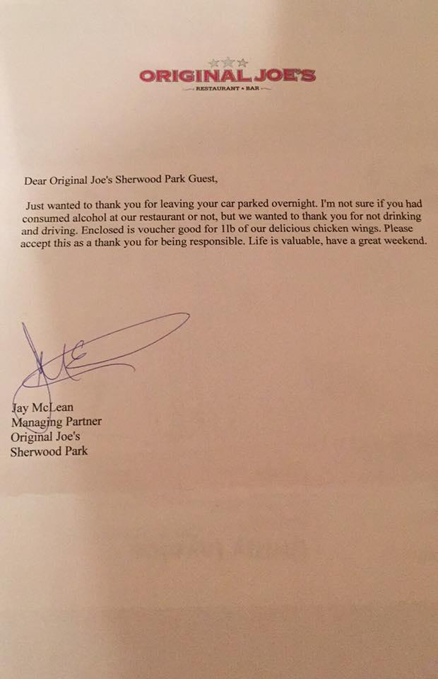 Original Joes Letter