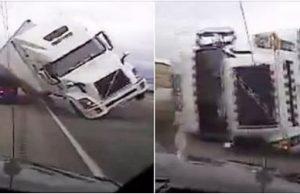 18 wheeler falls on police car