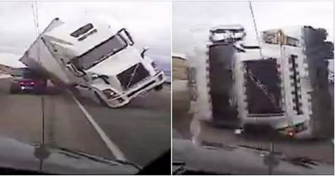 18 wheeler falls on police car