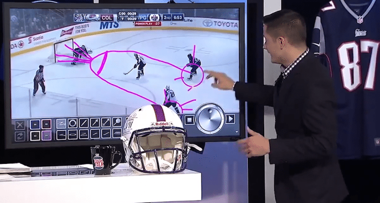 Sports analyst accidentally draws ejaculating penis