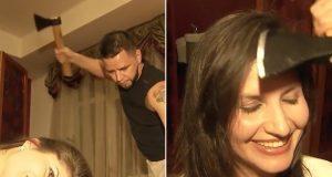 hair cut with an axe