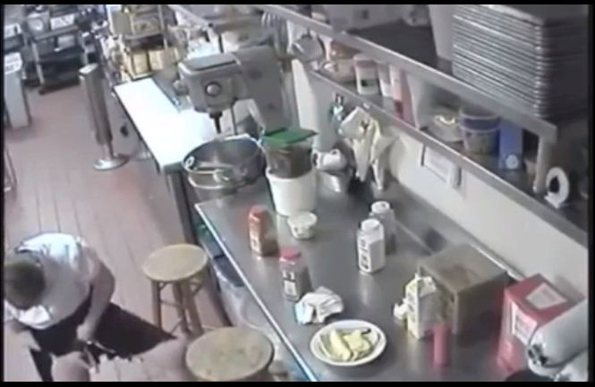 Footage Shows Waitress Using Customer's Hotdog As Tampon