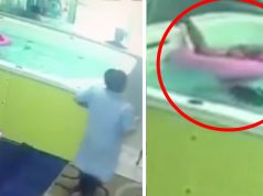 They leave 1-year-old alone in the pool