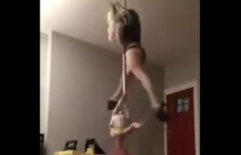 Stripper Practicing Infront of her kid